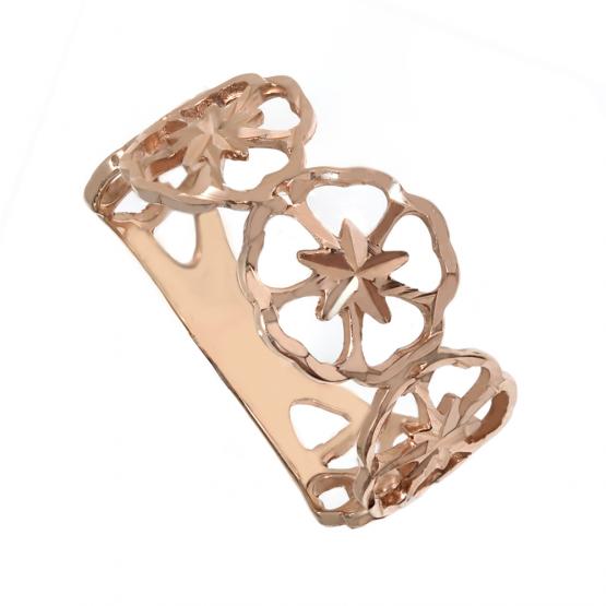 Кольцо золотое цветы